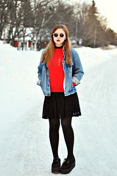 denim jacket - creepers Underground shoes - lace Monki dress