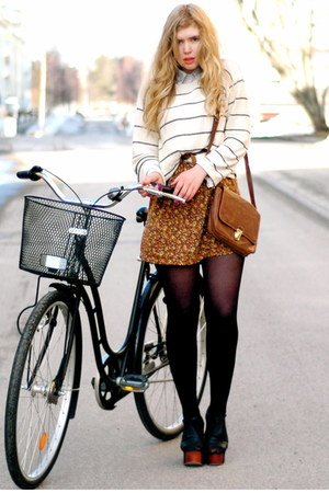 black foxy Jeffrey Campbell heels - ivory striped vintage sweater