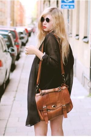 black transparent acne shirt - dark brown satchel Wera bag - black round 80spurp