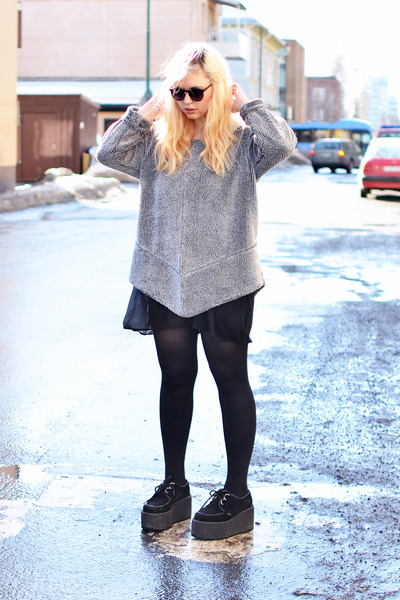 silver silver knit second hand sweater - black creepers Underground shoes