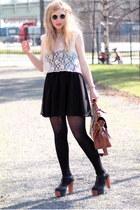 black lennon 80s Purple sunglasses - black chiffon Monki skirt - white lace H&M