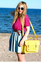 yellow satchel romwe bag - periwinkle H&M sunglasses - periwinkle denim Monki sk