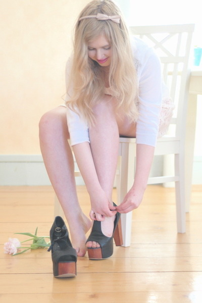 black Jeffrey Campbell shoes - white lace Monki dress - light pink tiara gift ac