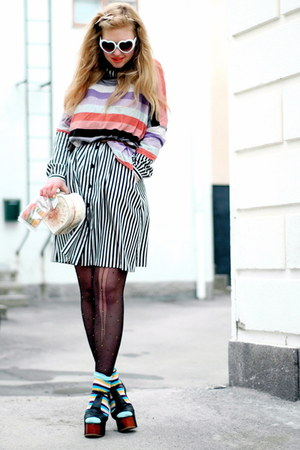 black foxy Jeffrey Campbell shoes - striped frk dress - H&amp;M sweater - turquoise 