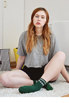 black lace American Apparel shorts - dark green sports Topshop socks