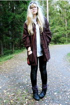 brown second hand jacket - black Monki leggings - white H&M shirt