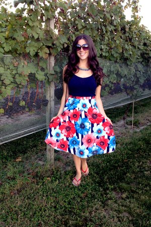 red modcloth skirt - navy Forever 21 shirt - army green Forever 21 sunglasses