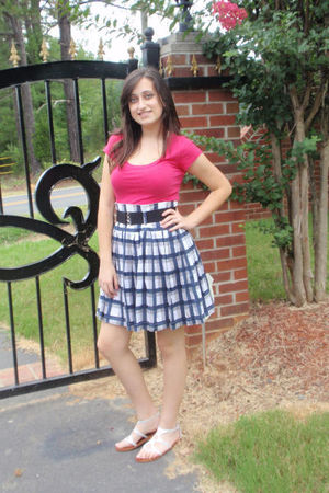 blue Forever 21 skirt - pink Forever 21 shirt - silver Aldo shoes