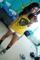 gold Betsey Johnson shirt - Machine shorts - Converse shoes - Aldo necklace