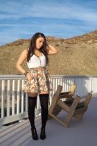 beige Forever 21 skirt - white H&M top - black wild diva shoes - black Sidecca s