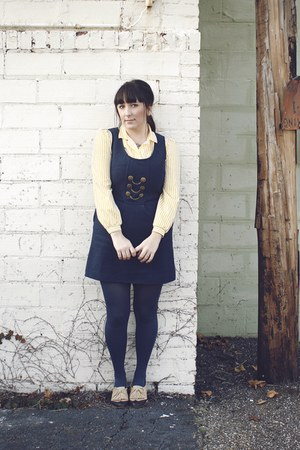 navy from ModCloth dress - light yellow thrifted blouse