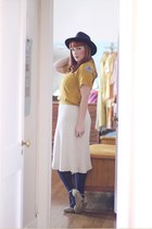 navy vintage hat - mustard vintage bowling thrifted shirt - cream knit thrifted