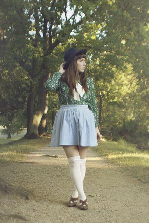 green vintage blouse - blue vintage skirt - white vintage tie - white Urban Outf