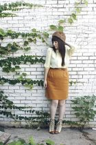 yellow thrifted blouse - orange thrifted skirt - brown thrifted belt - brown vin
