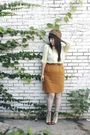 Yellow-thrifted-blouse-orange-thrifted-skirt-brown-thrifted-belt-brown-vin