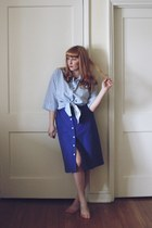 sky blue striped thrifted shirt - blue button down Garage Sale skirt