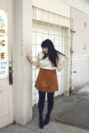 brown vintage skirt - beige vintage blouse - black Jeffrey Campbell shoes - blac
