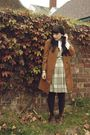 Green-etsy-vintage-dress-brown-london-fog-jacket-white-vintage-blouse-beig