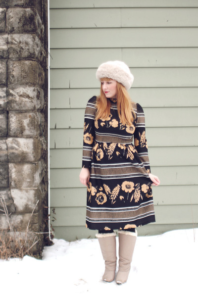 tan fur lined thrifted boots - bronze etsy vintage dress