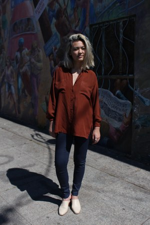 burnt orange thrifted vintage shirt - navy Zara pants