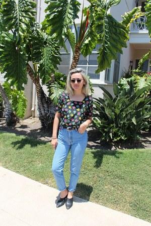 sky blue thrifted vintage jeans - black thrifted vintage shirt