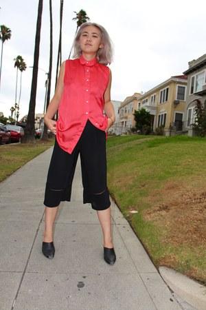 black thrifted vintage shoes - salmon American Apparel shirt - black Zara pants