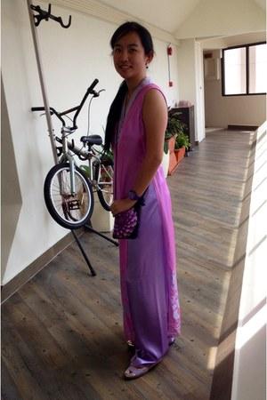 purple Swatch watch - light purple silk ao dai Misa dress
