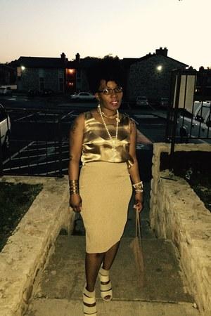 mustard shiny gold thrifted blouse - mustard pencil skirt skirt