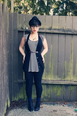 black H&M hat - black Old Navy vest - white Old Navy shirt - blue American Appar