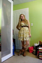 brown Steve Madden boots - light yellow floral H&M dress - dark brown delias bel