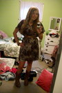 Brown-steve-madden-boots-deep-purple-printed-delias-dress