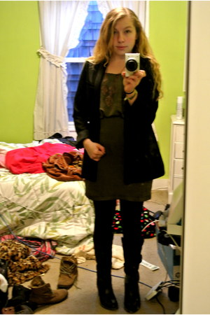 army green dress - black Aldo boots - black H&M blazer - black joe boxer tights