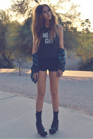 black detention Jeffrey Campbell boots - navy flannel Urban Outfitters shirt