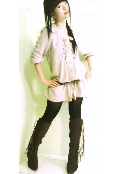 dress - belt - stockings - boots