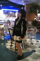 dress - blazer - belt - shorts - boots -