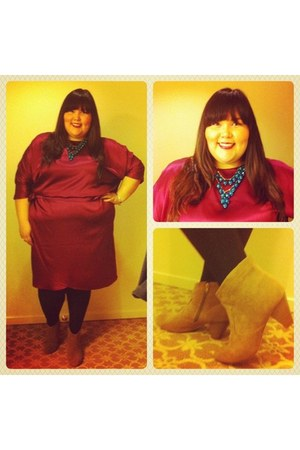 maroon Eloquii dress - tan Lane Bryant boots - black We Love Colors tights