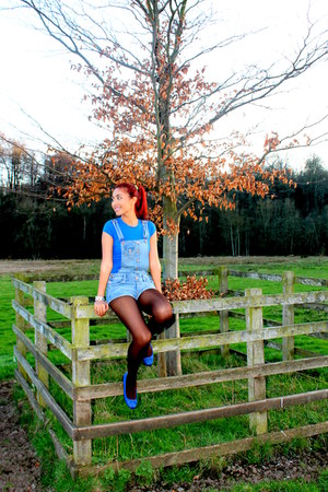 blue Bold in Ballerina flats - brown Primark tights - dark brown coach bag