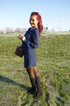 dark blue Primark blouse - black Marks & Spencer boots