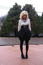 White-uniqlo-sweater-black-my-own-design-skirt-black-urbanoutfitters-shoes-