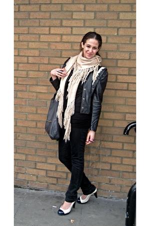 JBrand jeans - Lisa Kline scarf - Foley  Corrina purse - Beyond Retro jacket - T