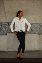 Forever 21 blazer - Forever 21 pants - Sparse blouse - thrifted earrings