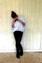 thrifted sweatshirt - Uggs boots - Mens Warehouse shirt - bowtie DIY accessories