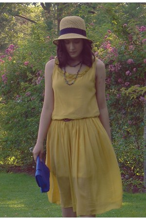gold OASAP dress - beige Urban Outfitters hat - blue H&M purse - red Target belt