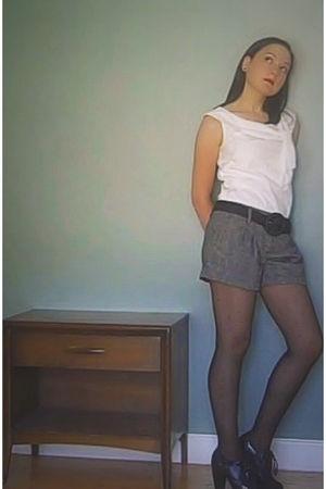 white Ann Taylor Loft top - gray Forever 21 shorts - black Forever 21 belt - bla