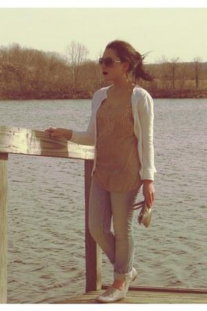 pink Forever 21 blouse - light blue Ann Taylor Loft jeans