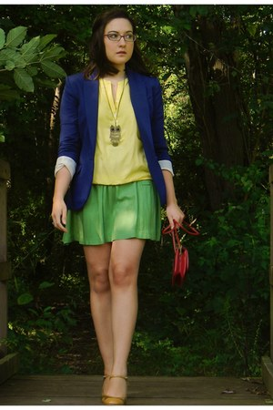 gold OASAP necklace - navy H&M blazer - chartreuse Urban Outfitters skirt