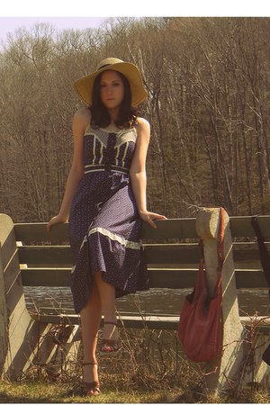 purple vintage dress - tan Forever 21 hat - red lucky bag - tan thrifted sandals