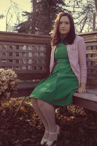 green modcloth dress - nude Forever 21 tights - eggshell modcloth heels