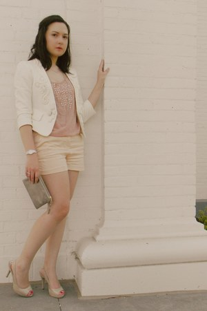 pink Forever 21 blouse - beige Forever 21 blazer - peach H&M shorts