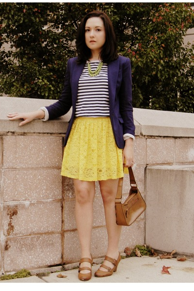 chartreuse Target necklace - navy H&M blazer - yellow Forever 21 skirt